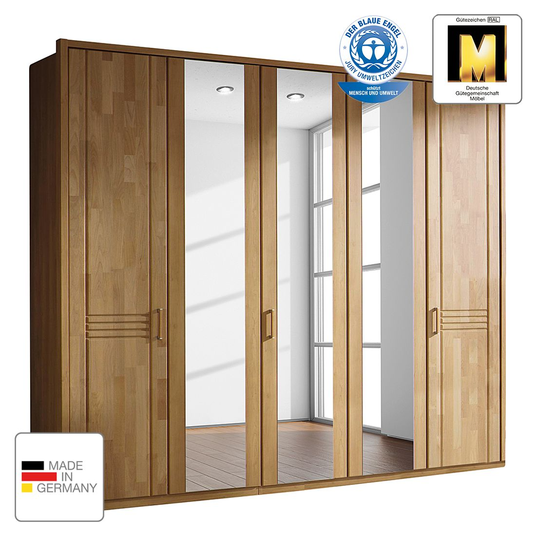 goedkoop Draaideurkast Savina Wild eikenhout 235cm 5 deurs 1 spiegeldeur Met Passe partout lijst Rauch Steffen