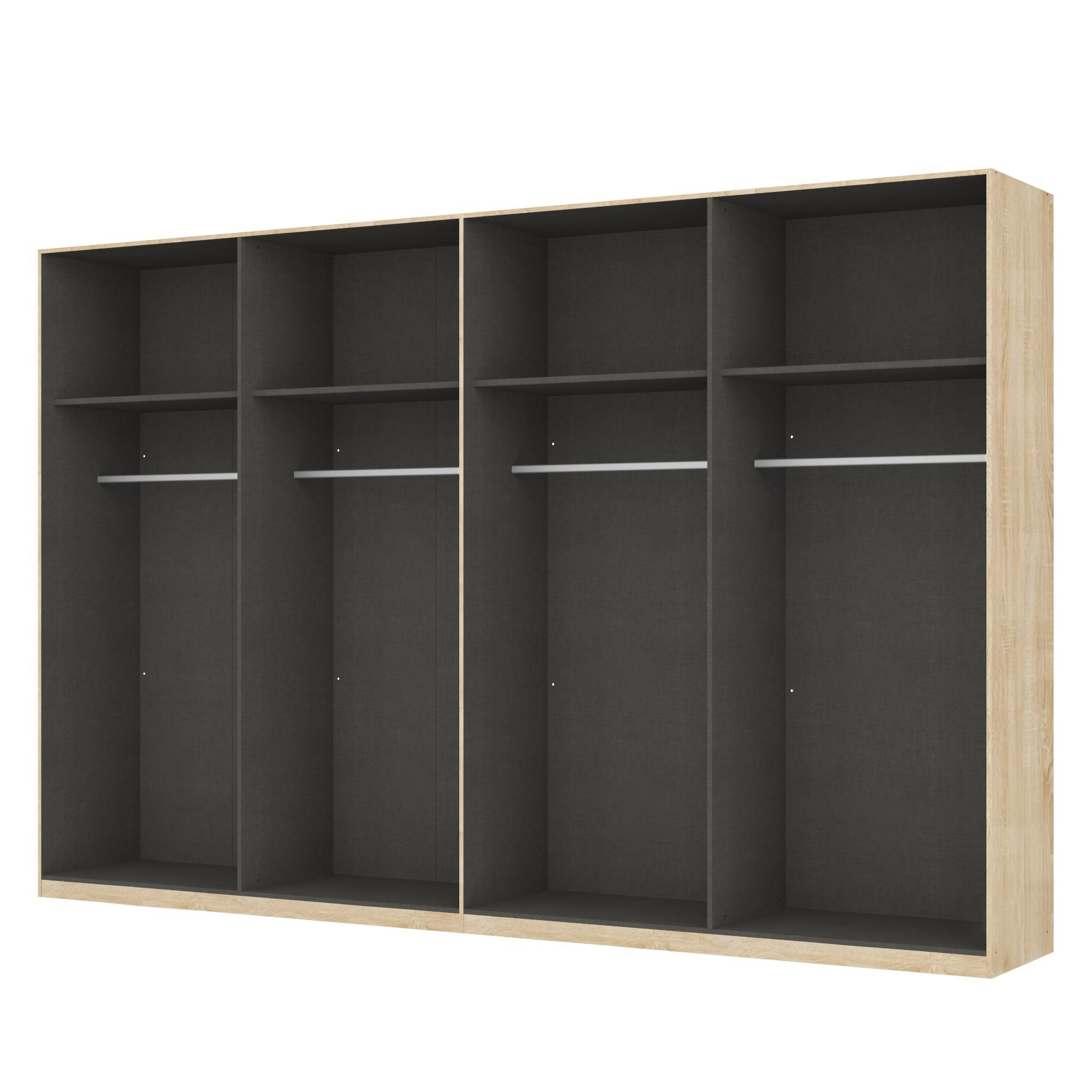 Kleiderschrank SKOEP - Eiche Sonoma Dekor/ Offen - 236 cm - 8-tuerig - Premium - 360 cm