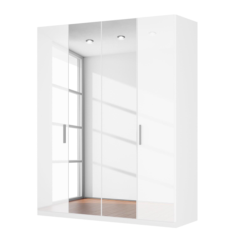 goedkoop Draaideurkast Skøp I hoogglans wit kristalspiegel 181cm 4 deurs 222cm Comfort Skop