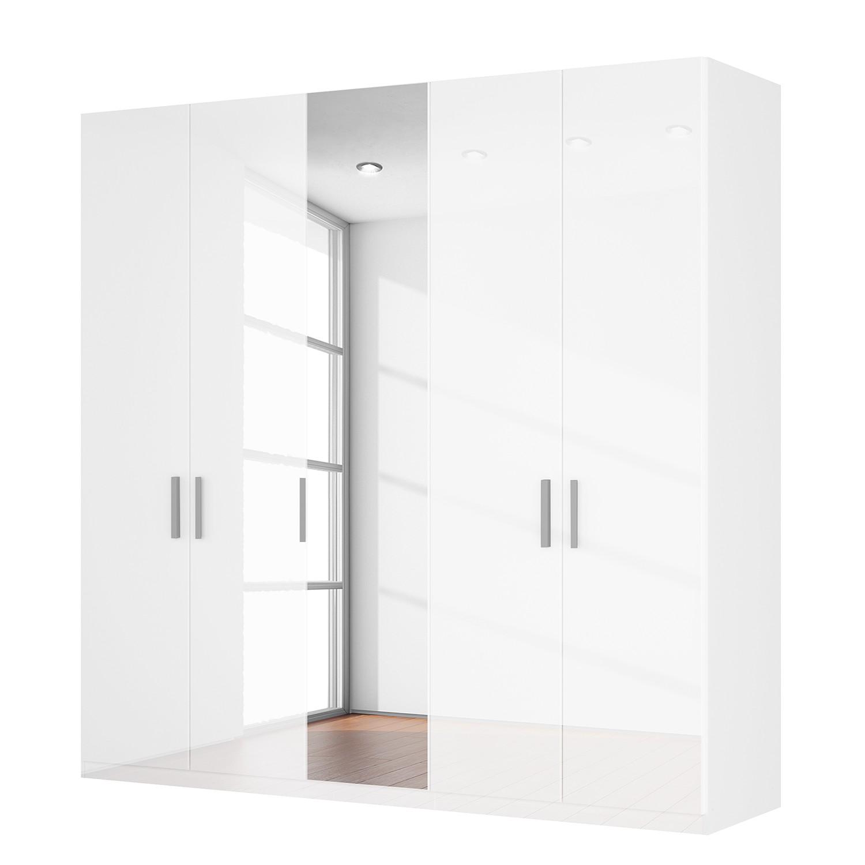 goedkoop Draaideurkast Skøp I hoogglans wit kristalspiegel 225cm 5 deurs 222cm Comfort Skop