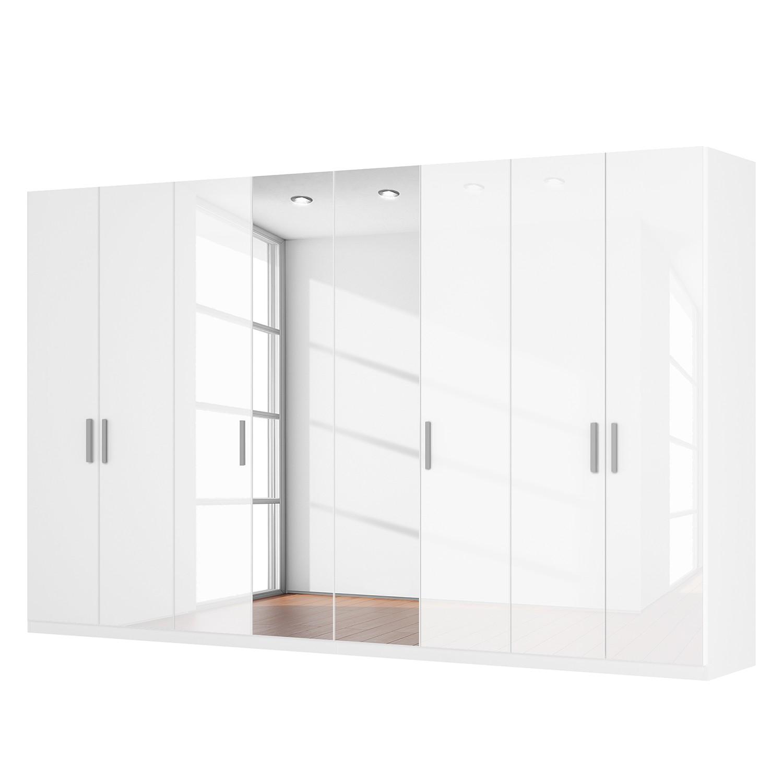 goedkoop Draaideurkast Skøp I hoogglans wit kristalspiegel 360cm 8 deurs 222cm Premium Skop