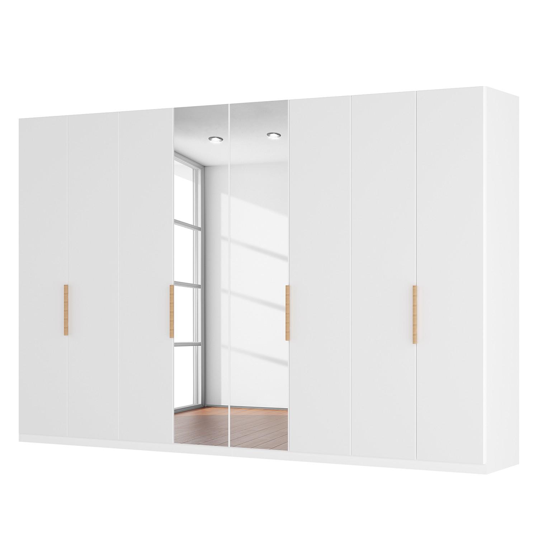 goedkoop Draaideurkast Skøp I hoogglans wit kristalspiegel 360cm 8 deurs 222cm Comfort Skop