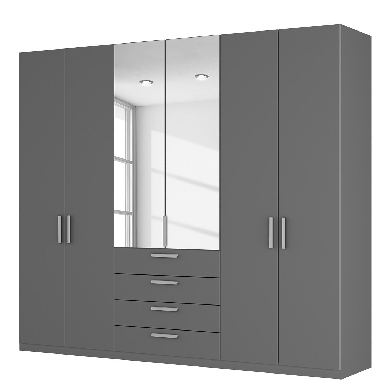 goedkoop Draaideurkast Skøp II grafietkleurig kristalspiegel 270cm 6 deurs 236cm Basic Skop
