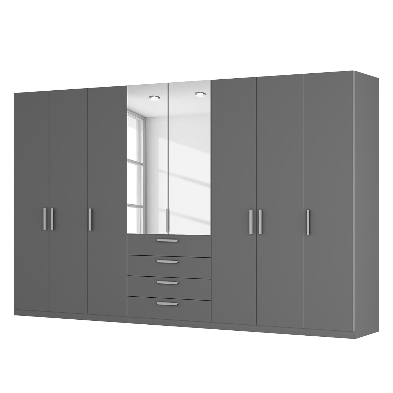 goedkoop Draaideurkast Skøp II grafietkleurig kristalspiegel 360cm 8 deurs 222cm Comfort Skop