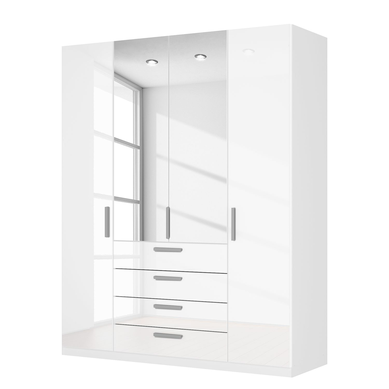 goedkoop Draaideurkast Skøp II hoogglans wit kristalspiegel 181cm 4 deurs 222cm Comfort Skop