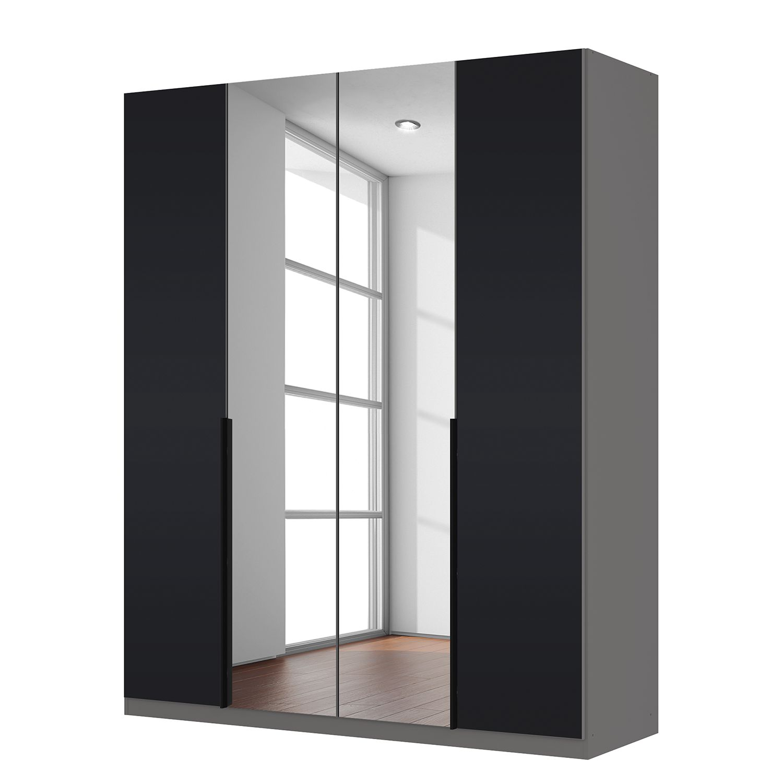 Armoire à portes battantes Skøp - Verre noir mat / Miroir en cristal - 181 cm (4 portes) - 222 cm - Basic, SKØP