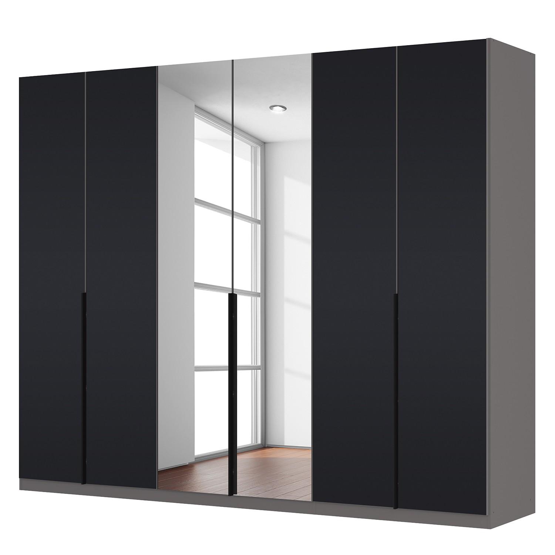 goedkoop Draaideurkast Skøp zwart matglas kristalspiegel 270cm 6 deurs 222cm Premium Skop
