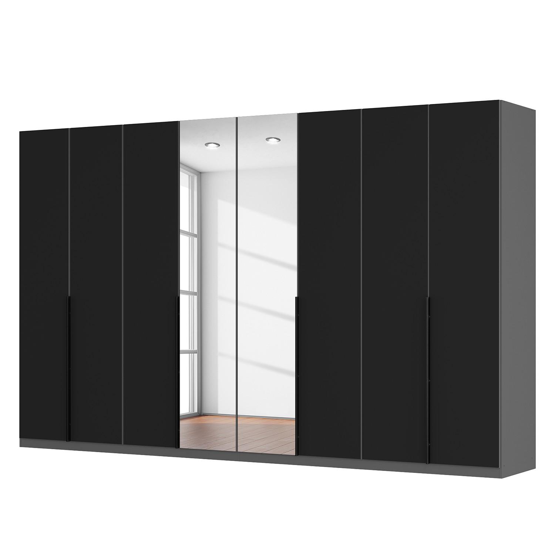 goedkoop Draaideurkast Skøp zwart matglas kristalspiegel 360cm 8 deurs 222cm Basic Skop
