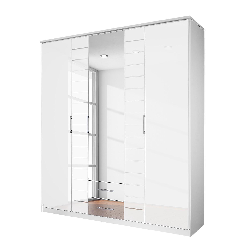 goedkoop Draaideurkast Telde Alpinewit wit glas 181cm 5 deurs 1 spiegeldeur Rauch Packs