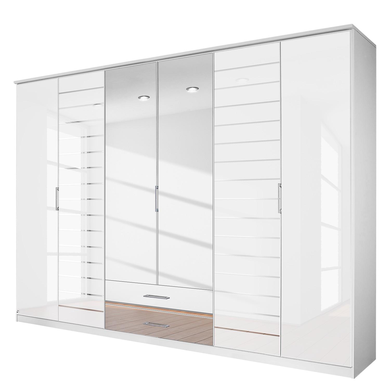 goedkoop Draaideurkast Telde Alpinewit wit glas 271cm 6 deurs 2 spiegeldeuren Rauch Packs