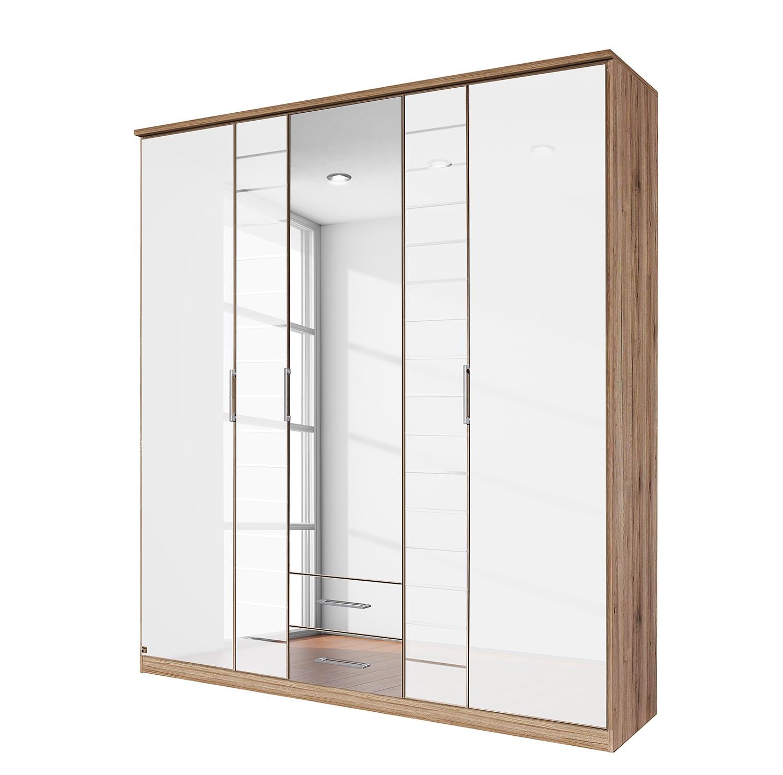goedkoop Draaideurkast Telde Lichte San Remo eikenhouten look wit glas 181cm 5 deurs 1 spiegeldeur Rauch Packs