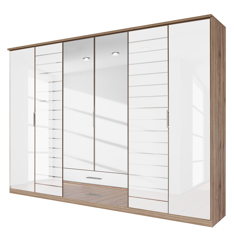 goedkoop Draaideurkast Telde Lichte San Remo eikenhouten look wit glas 271cm 6 deurs 2 spiegeldeuren Rauch Packs