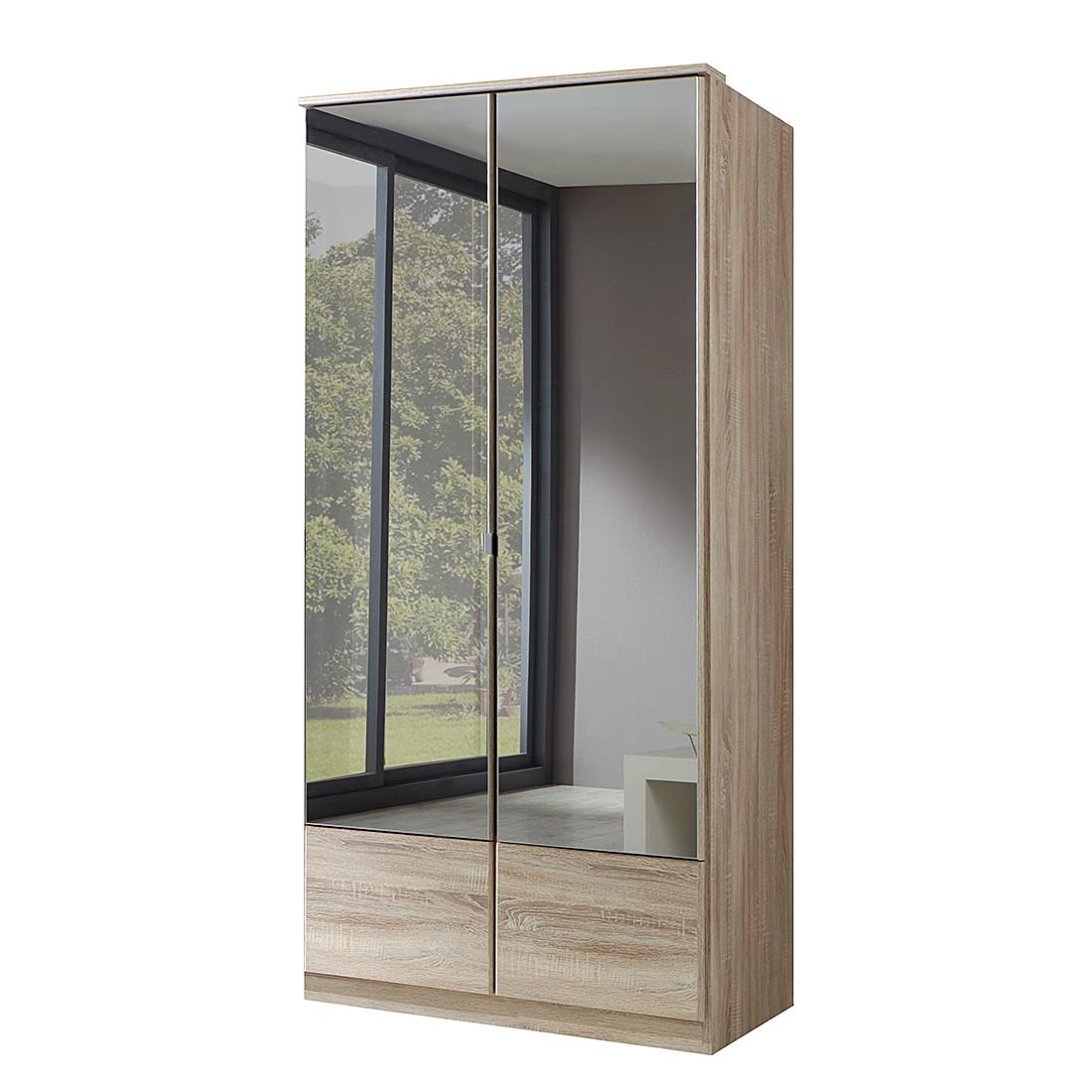 goedkoop Draaideurkast Vanity grof gezaagde eikenhouten look kastbreedte 135cm 3 spiegels Wimex