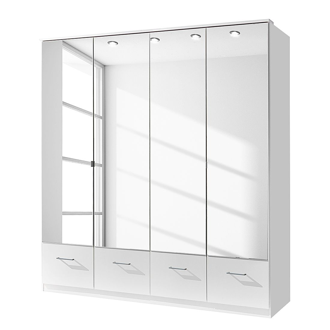 goedkoop Draaideurkast Vanity met spiegel alpinewit kastbreedte 135cm 3 deurs Wimex
