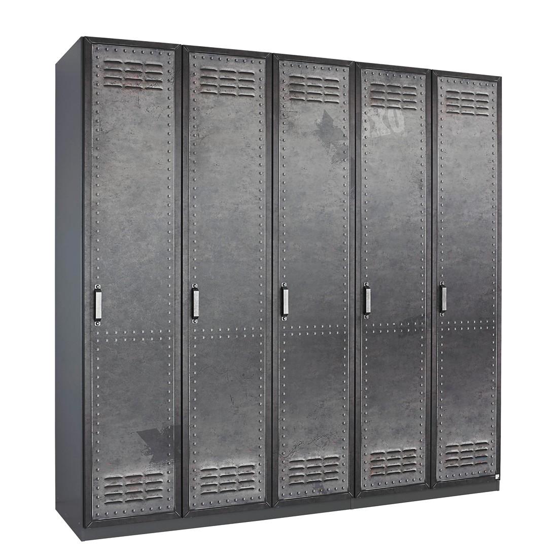 goedkoop Draaideurkast Workbase industrial print look grafietkleurig 136cm 3 deurs scharnieren rechts Rauch Select