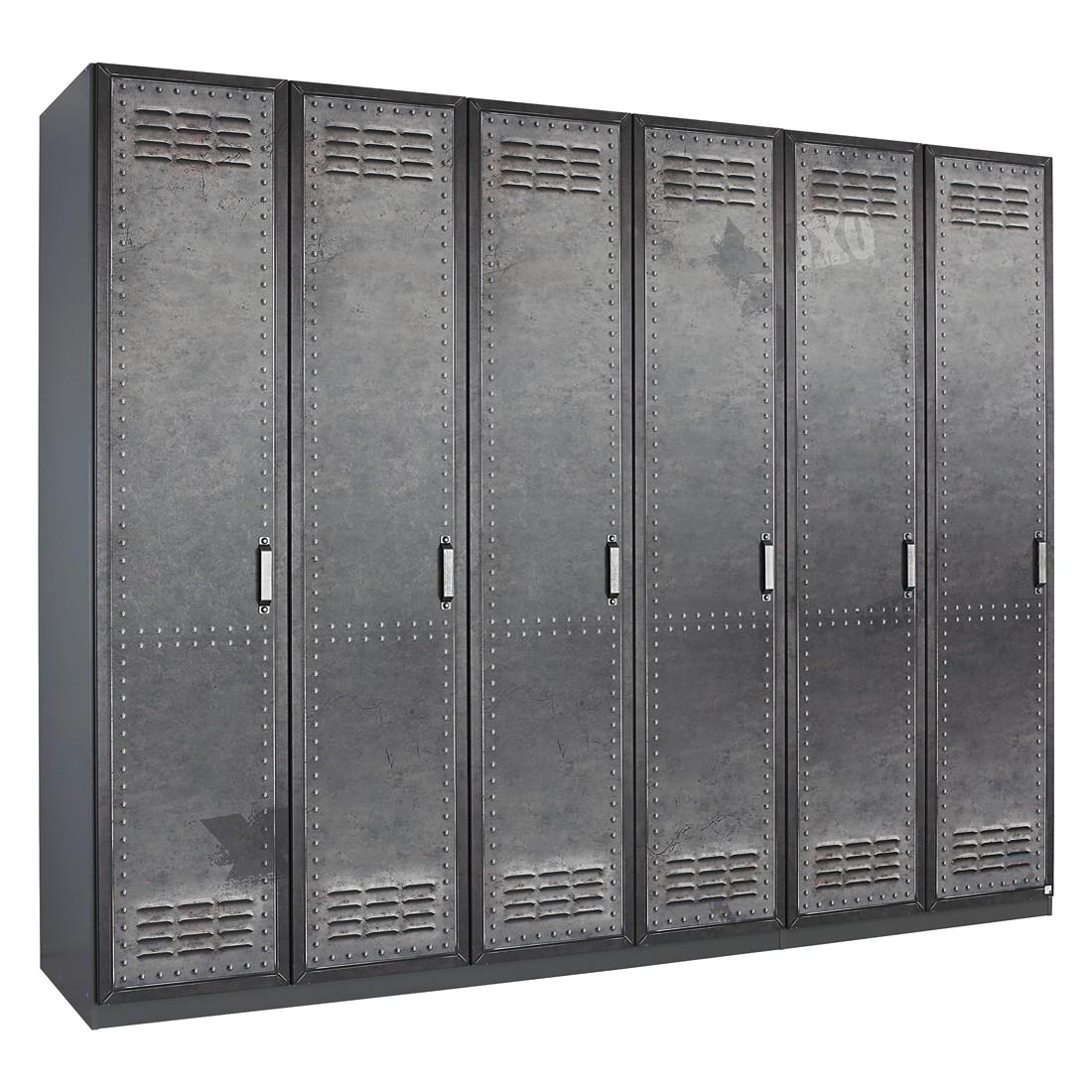 goedkoop Draaideurkast Workbase industrial print look grafietkleurig 270cm 6 deurs scharnieren links Rauch Select