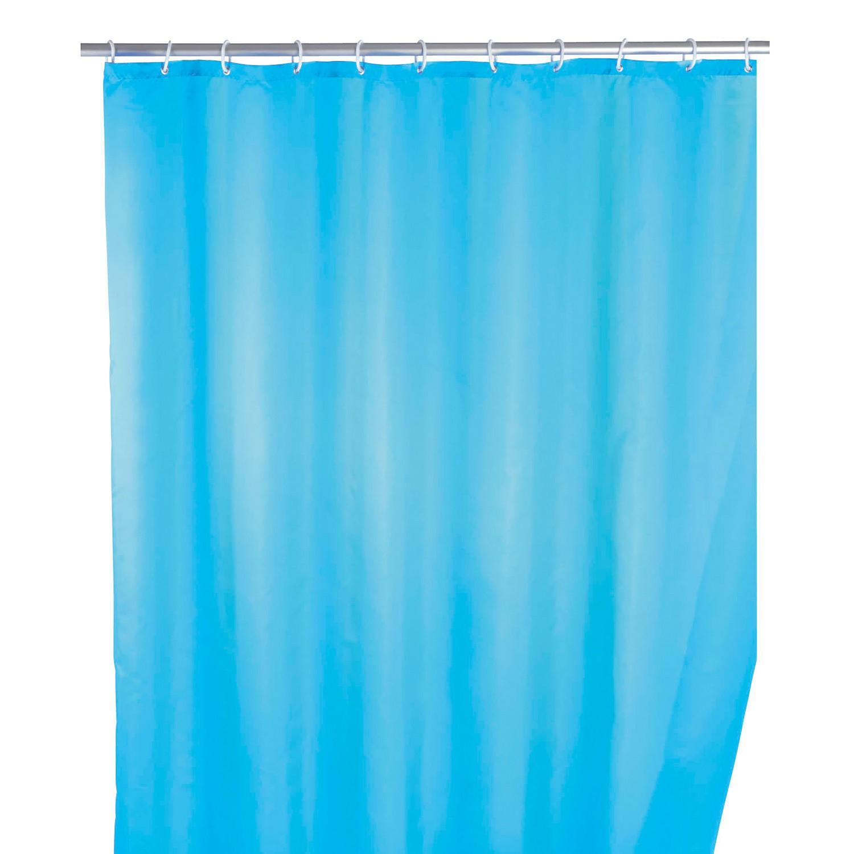 home24 Duschvorhang Uni   Bad   Blau   Textil   WENKO