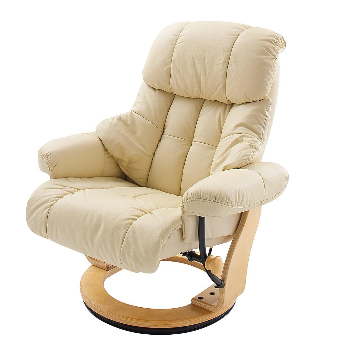 Fauteuil de relaxation Grunewald (avec repose-pieds) - Cuir véritable - Beige, Nuovoform