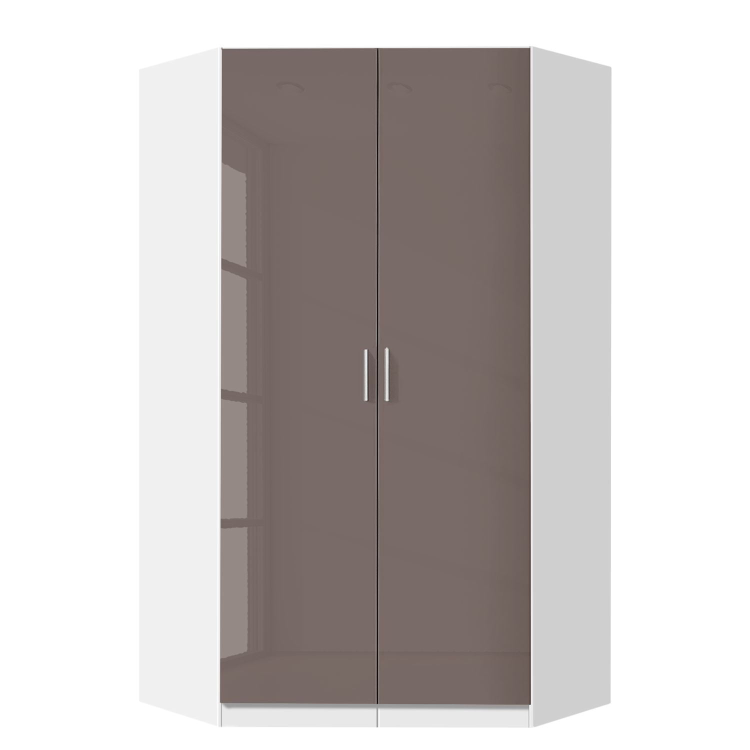 Armoire d'angle Celle - Blanc alpin / Gris lava brillant, Rauch Packs