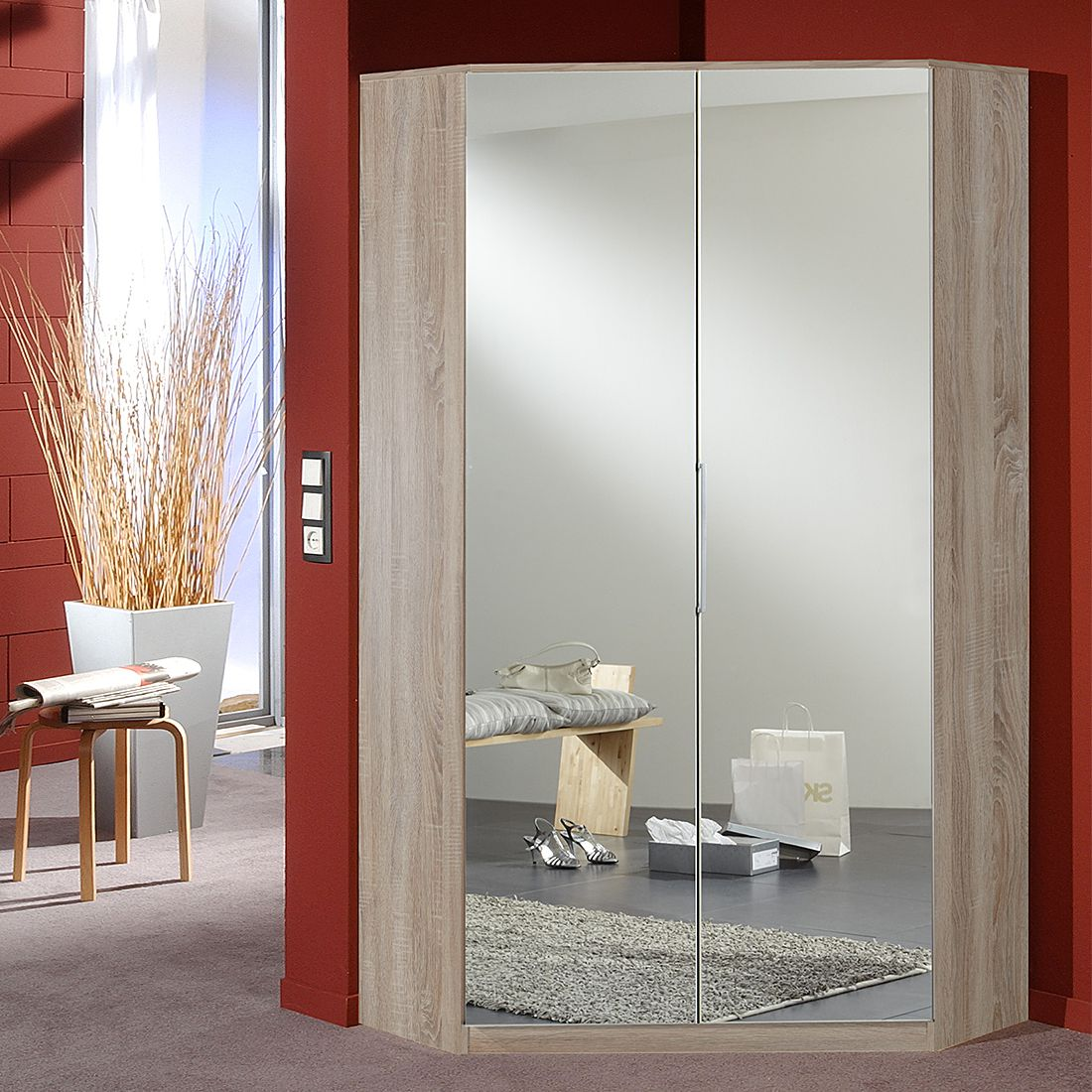 Armoire d'angle Soala (avec miroir)