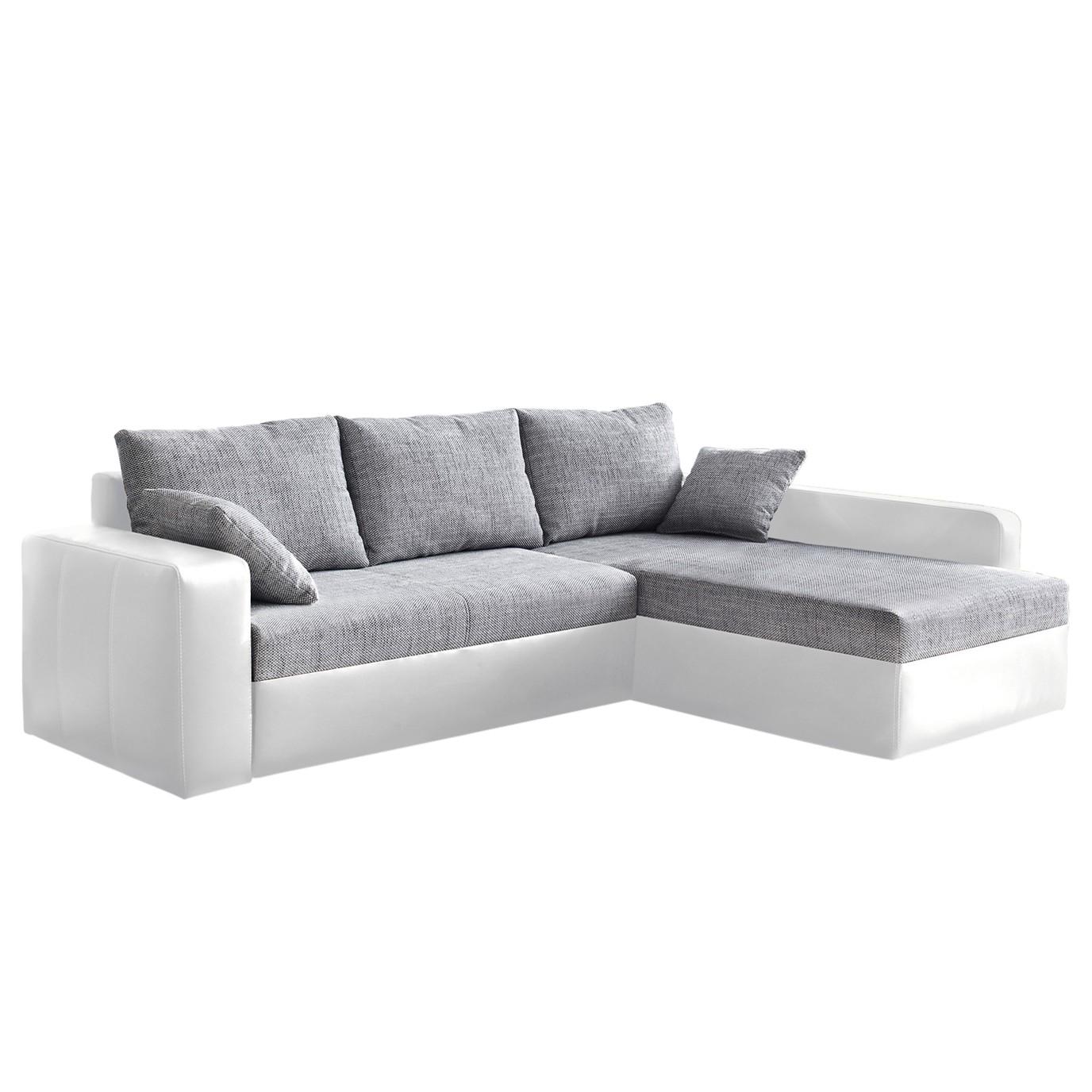 goedkoop Hoekbank Aarhus I met slaapfunctie aan beide zijden monteerbaar kunstleer structuurstof Grijs wit Home Design