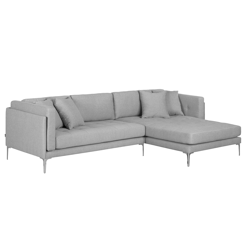 home24 Fredriks Ecksofa Agueda I 3-Sitzer Grau Webstoff 291x84x173 cm (BxHxT) Modern