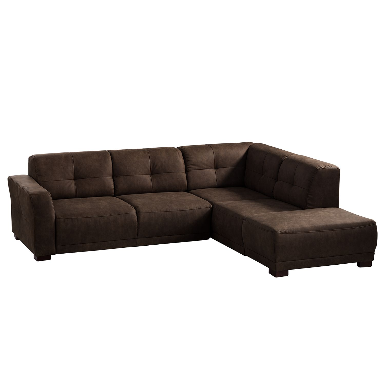 Canapé d'angle Aledo - Aspect cuir vieilli - Courte à droite (vue de face) - Sans fonction couchage - Marron, ars manufacti