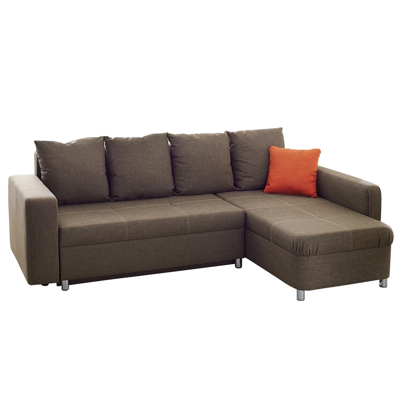 goedkoop Hoekbank Aramia met slaapfunctie bruine geweven stof longchair aan beide zijkanten monteerbaar Home Design