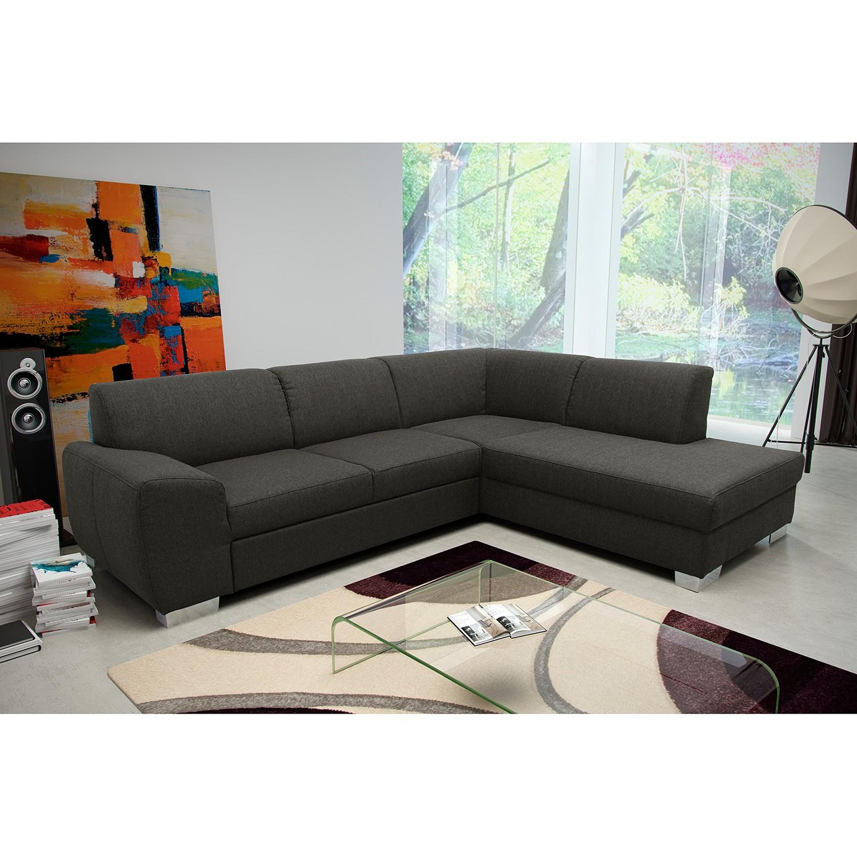 home24 Fredriks Ecksofa Bollon Dunkelgrau Webstoff 279x81x216 cm mit Schlaffunktion