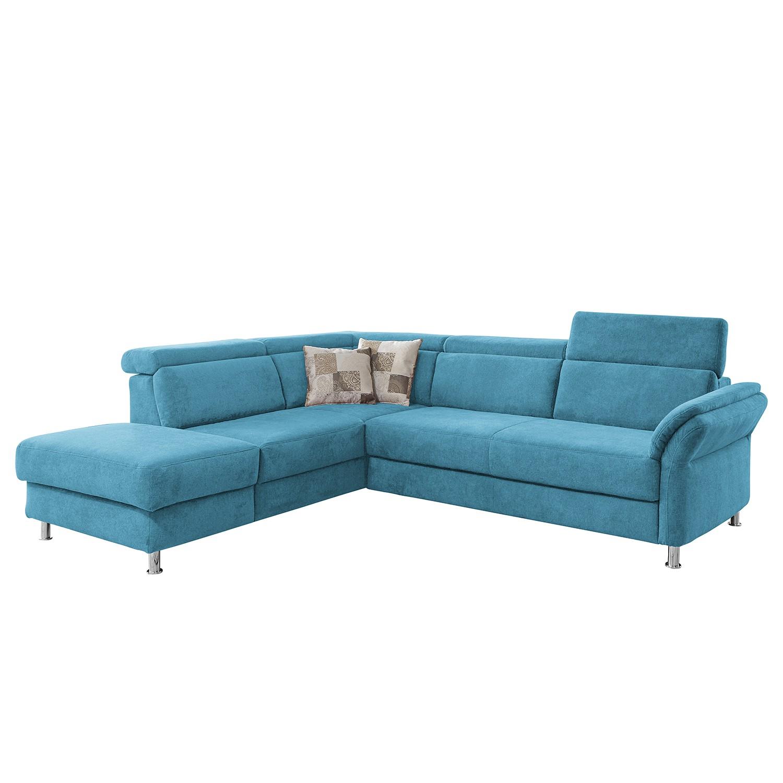 home24 Fredriks Ecksofa Calang Hellblau Webstoff 267x97x228 cm (BxHxT) mit Schlaffunktion/Bettkasten Modern