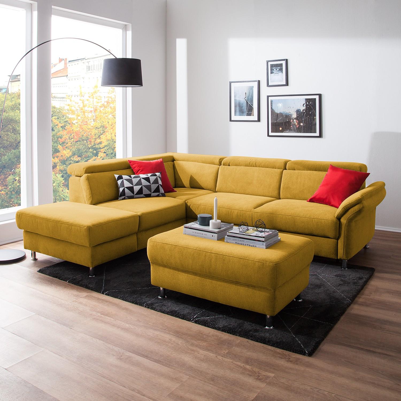 home24 Fredriks Ecksofa Calang Safrangelb Webstoff 267x97x228 cm (BxHxT) mit Schlaffunktion/Bettkasten Modern