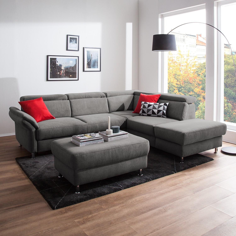 home24 Fredriks Ecksofa Calang Grau Webstoff 267x97x228 cm (BxHxT) mit Schlaffunktion/Bettkasten Modern