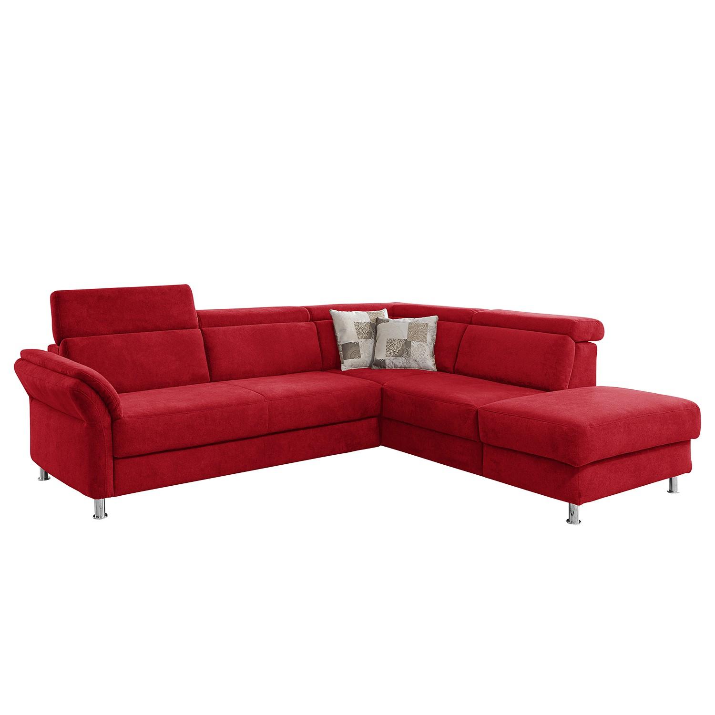 home24 Fredriks Ecksofa Calang Rot Webstoff 267x97x228 cm (BxHxT) mit Schlaffunktion/Bettkasten Modern