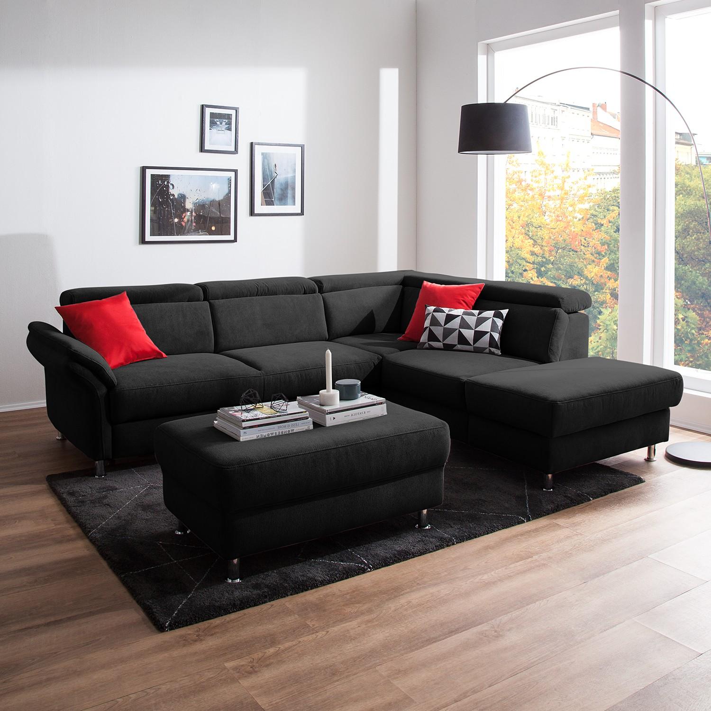 home24 Fredriks Ecksofa Calang Schwarz Webstoff 267x97x228 cm (BxHxT) mit Schlaffunktion/Bettkasten Modern