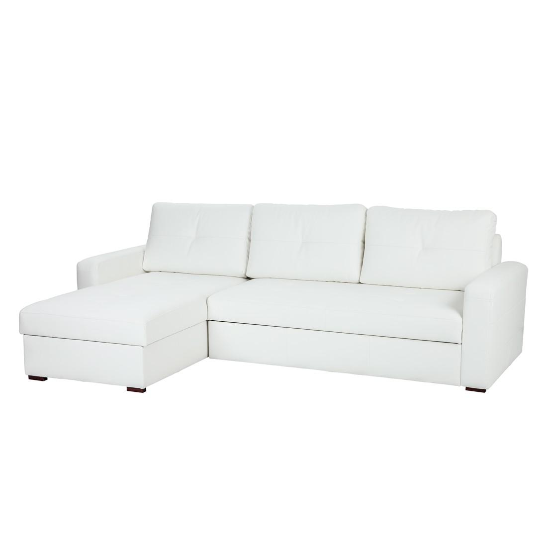 Canapé d'angle Cavolo (avec fonction couchage) - Imitation cuir blanc - Méridienne montable à gauche ou à droite, Fredriks