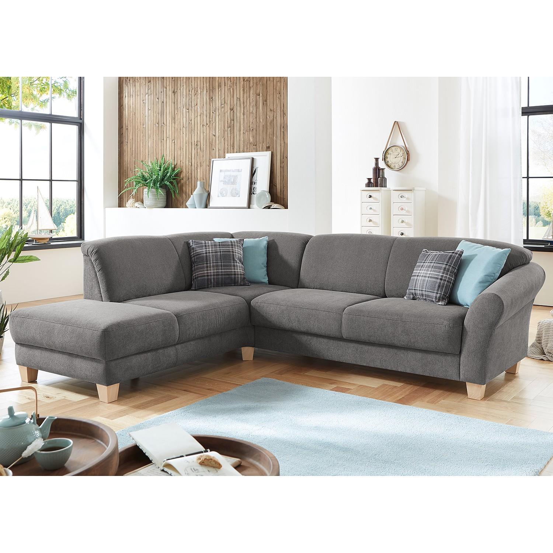 home24 Ars Natura Ecksofa Cebu 2-Sitzer Grau Webstoff 257x84x212 cm mit Bettkasten