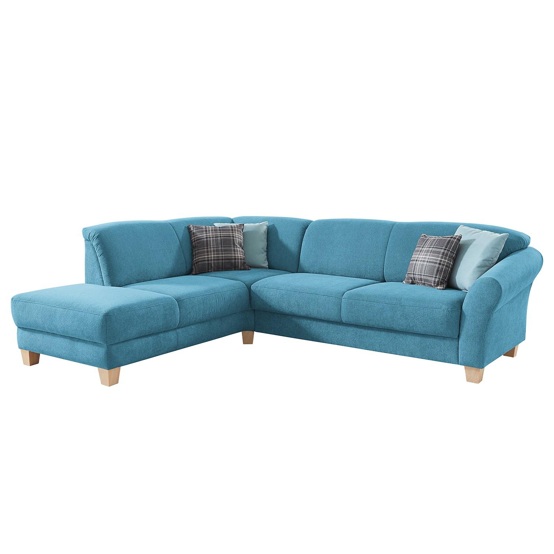 goedkoop Hoekbank Cebu geweven stof Ottoman vooraanzicht links Verlengbaar zitoppervlak met zitdiepte verstelling Lichtblauw Maison Belfort