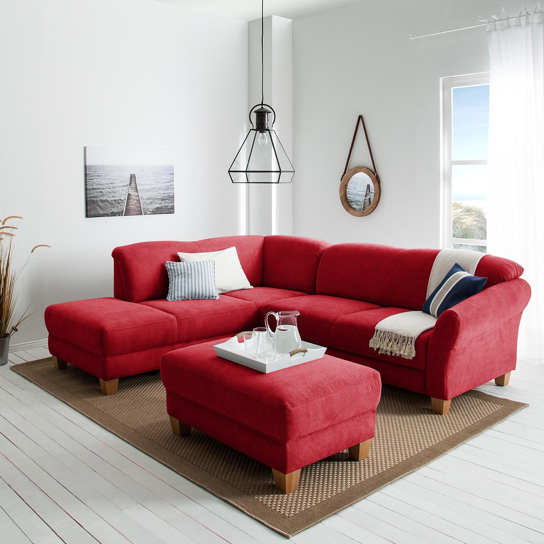 home24 Ars Natura Ecksofa Cebu 2-Sitzer Rot Webstoff 257x84x212 cm mit Bettkasten
