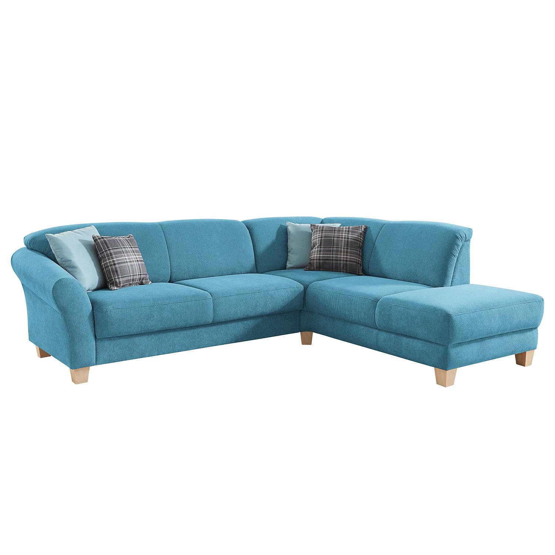 goedkoop Hoekbank Cebu geweven stof Ottoman vooraanzicht rechts Verlengbaar zitoppervlak met zitdiepte verstelling Lichtblauw Maison Belfort