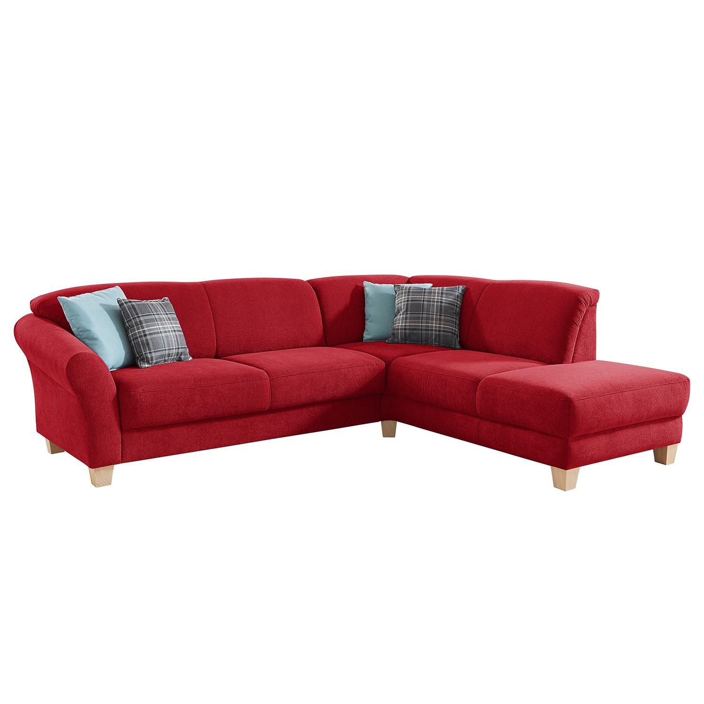 goedkoop Hoekbank Cebu geweven stof Ottoman vooraanzicht rechts Verlengbaar zitoppervlak met zitdiepte verstelling Rood Maison Belfort