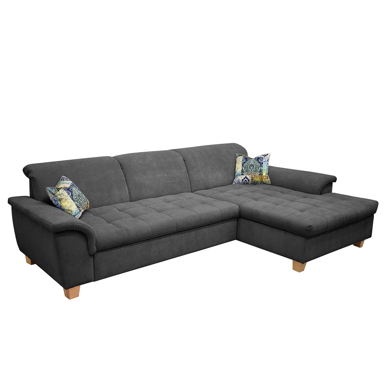Canapé d'angle Charlo Microfibre - Méridienne longue à droite (vue de face) - Avec fonction couchage - Réglage de la tête de lit - Gris, Maison Belfort