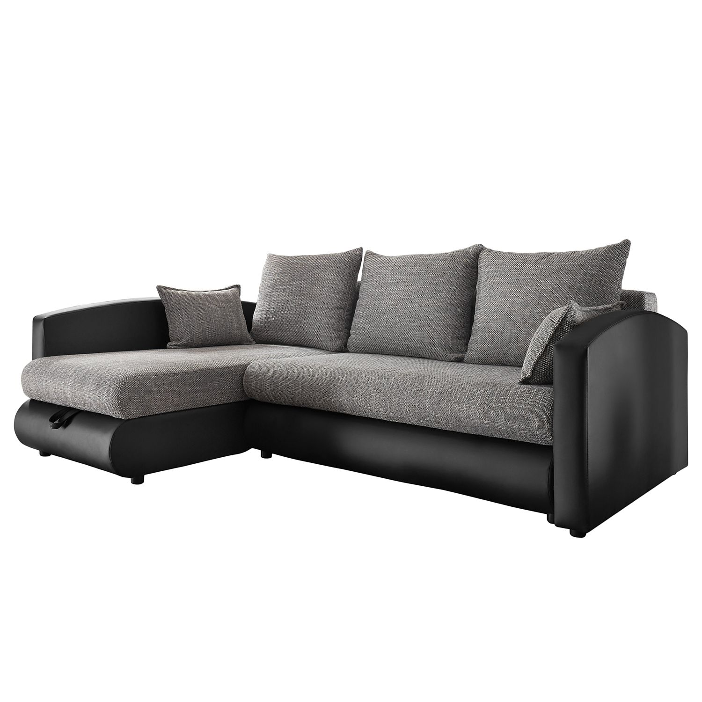 Canapé d'angle Chertsey (convertible)- Imitation cuir / Tissu - Noir / Gris, Fredriks