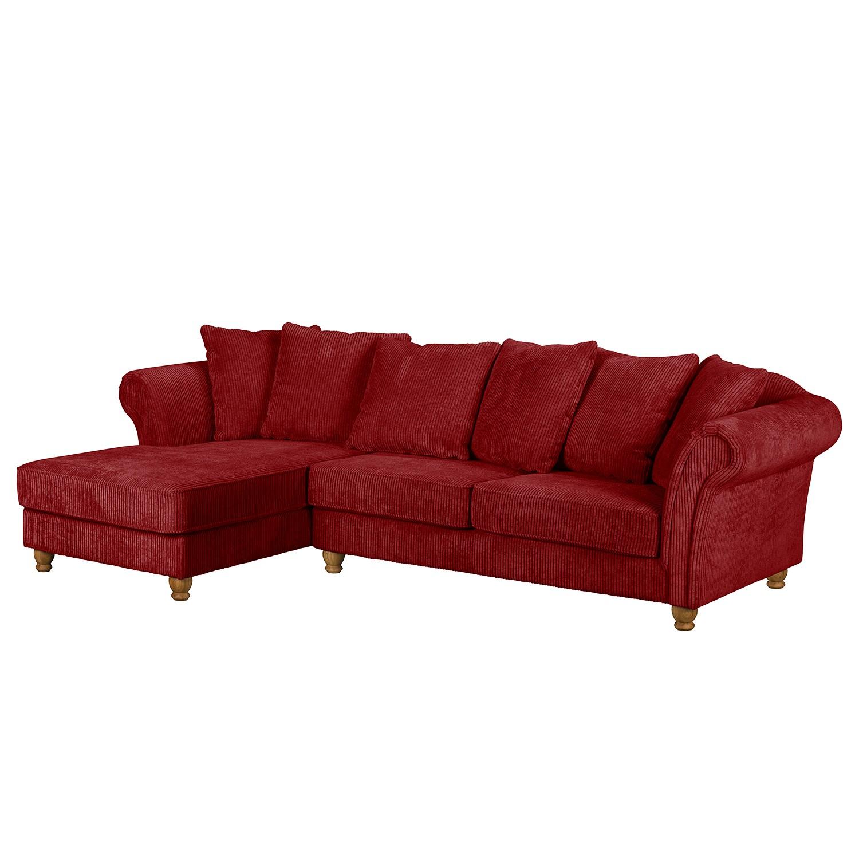 home24 Maison Belfort Ecksofa Colares Rot Cord 280x92x90 cm