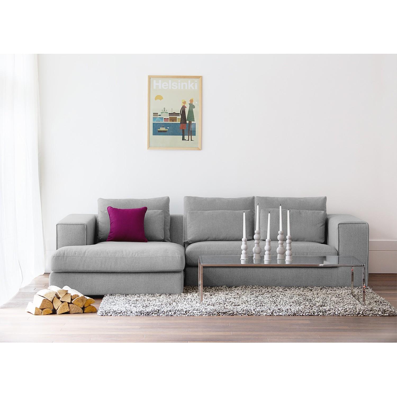 home24 Fredriks Ecksofa Columbia 2-Sitzer Grau Webstoff 284x84x176 cm (BxHxT) Modern
