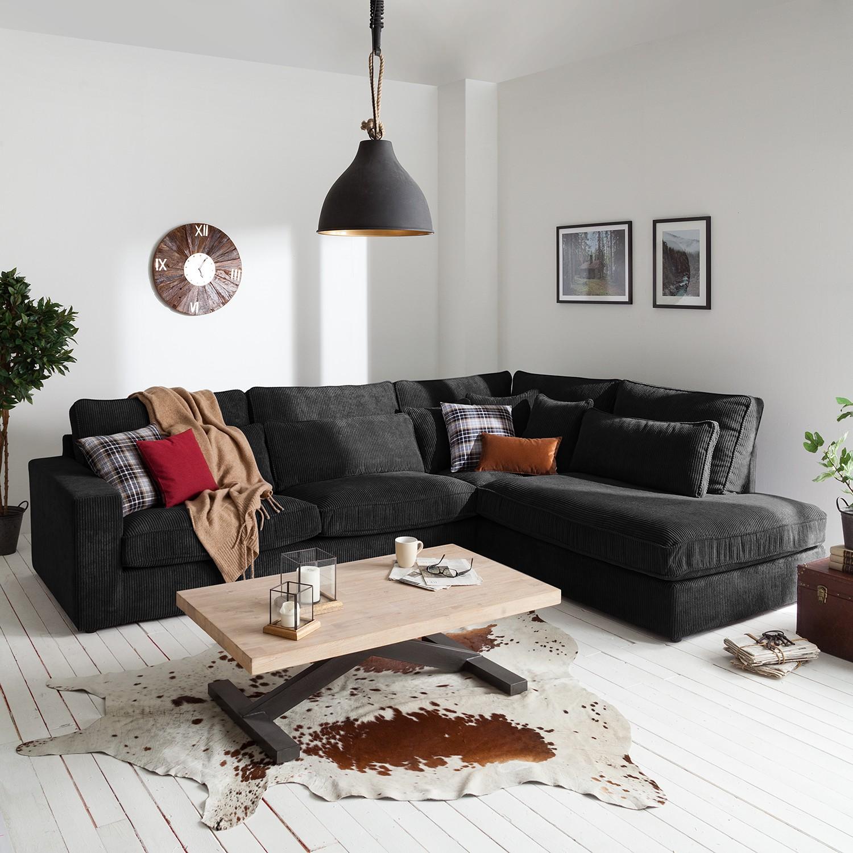 home24 Naturoo Ecksofa Coolock Schwarz Cord 326x92x250 cm (BxHxT)