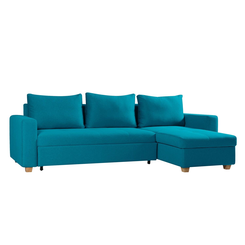 goedkoop Hoekbank Crandon met slaapfunctie geweven stof longchair vooraanzicht rechts Stof Zahira Turquoise Fredriks