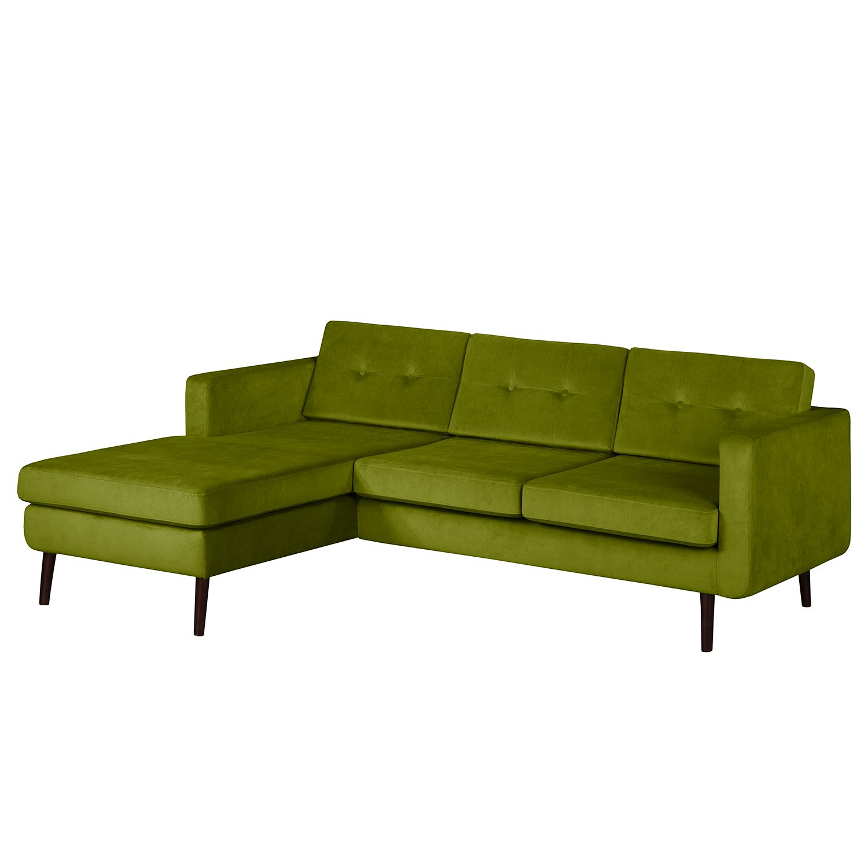 goedkoop Hoekbank Croom fluweel Longchair vooraanzicht links Pistache groen Morteens