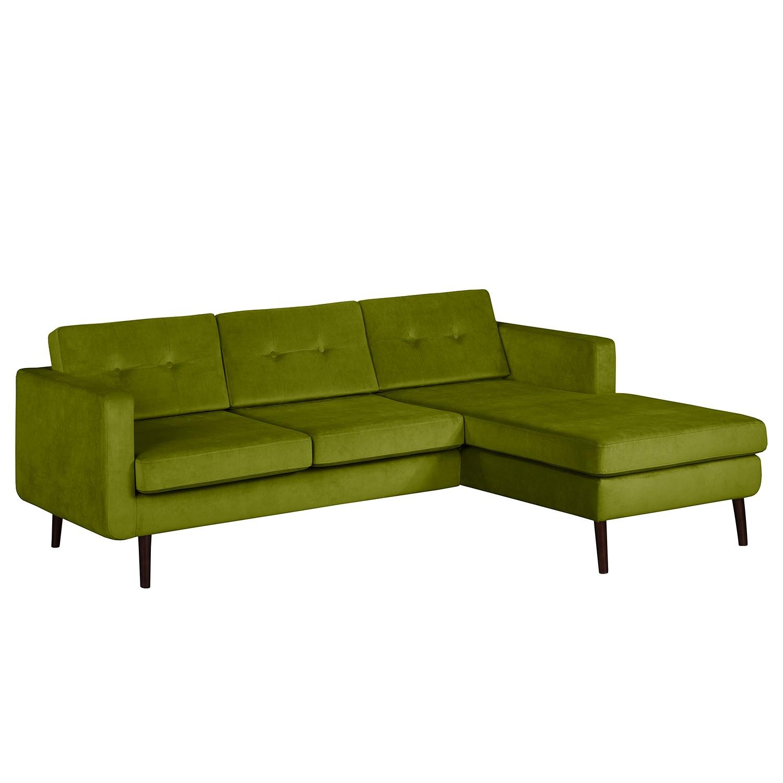goedkoop Hoekbank Croom fluweel Longchair vooraanzicht rechts Pistache groen Morteens