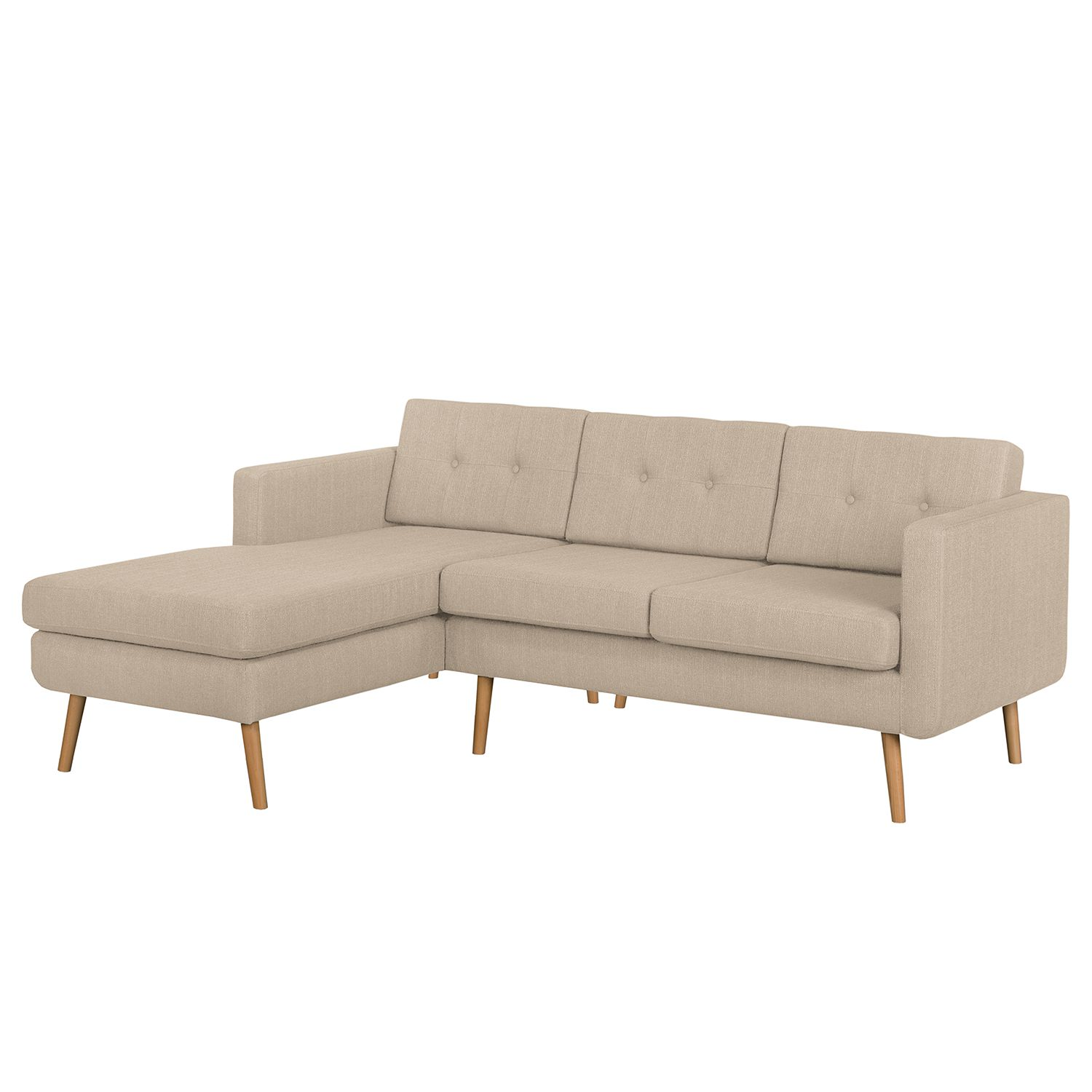 home24 Mørteens Ecksofa Croom Cappuccino Webstoff 211x84x154 cm