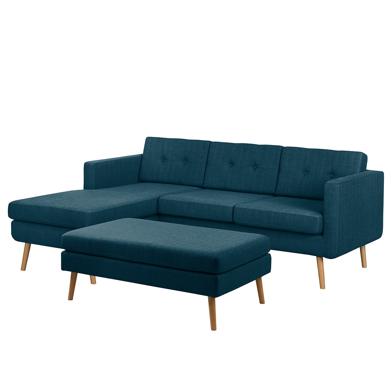 home24 Mørteens Ecksofa Croom Jeansblau Webstoff 211x84x154 cm